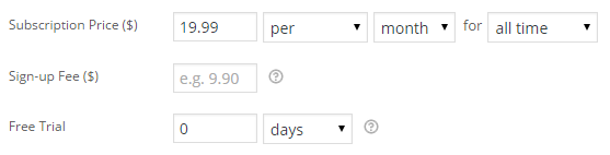 Simple subscription product price settings