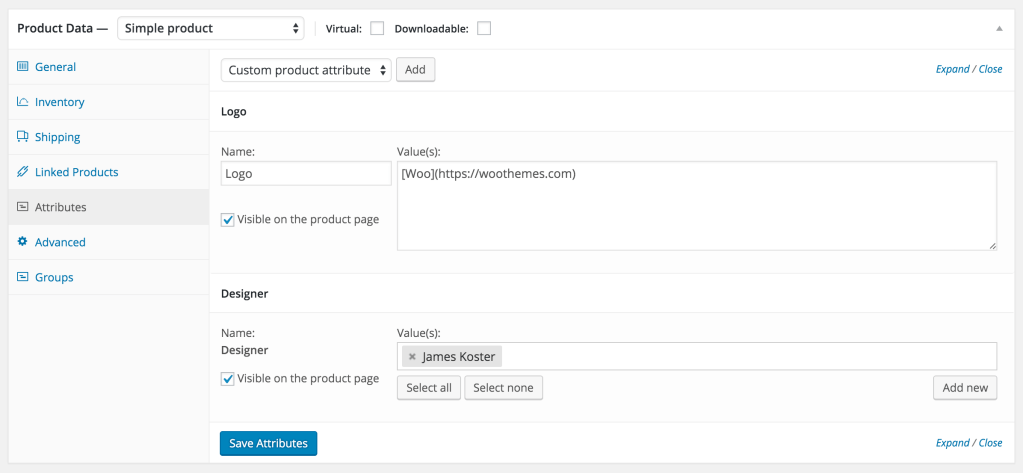 Editing product attributes on the single product page