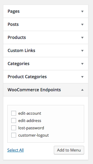 WooCommerce Endpoints Box